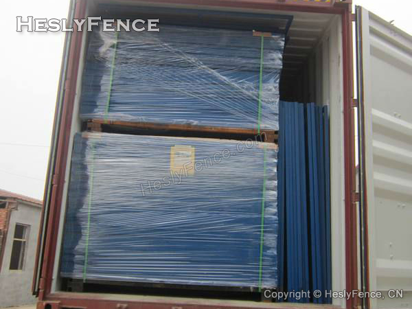 blue temporary construction fence panels